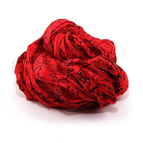 Block Printed Handmade Sari Silk Ribbon by Darn Good Yarn for Knitting and Crochet | 100% Reclaimed Sari Fabric | Paisley Red | 100 Grams 50 Yards