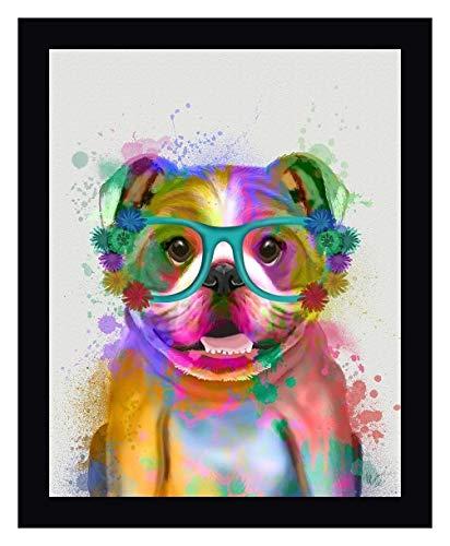 "English Bulldog Rainbow Splash by Fab Funky - 13"" x 15"" Black Framed Giclee Canvas Art Print - Ready to Hang"
