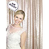 B-COOL Champagne Blush 4ftx6.5ft Sequin Backdrop Photography and background fabric backdrop Photo Booth Backdrop for wedding/Party/Curtain/Birthday/Halloween/Christmas/Prom