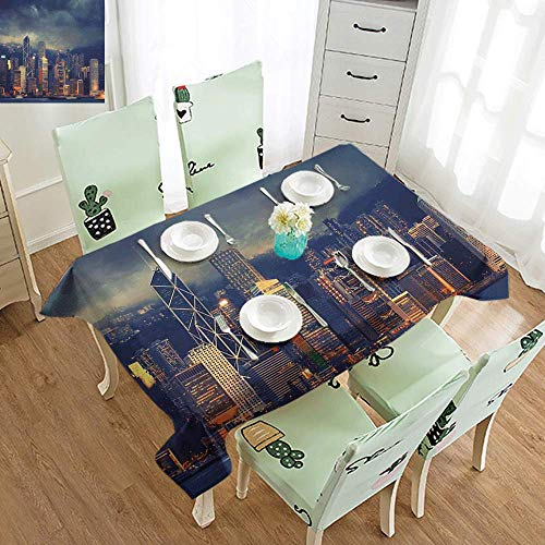 Cityscape Easy to Care for Leakproof and Durable Long tablecloths Hong Kong Cityscape Stormy Weather Dark Cloudy Sky Waterfront Port Dramatic View Outdoor Picnic W60 x L126 Inch Navy Gold