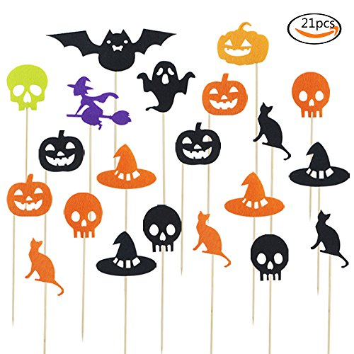 Outuxed 21Pcs Halloween Theme Party Cupcake Toppers, Witch, Pumpkin, Black Cat, Ghost, Bat Cupcake (Witch Pumpkin)