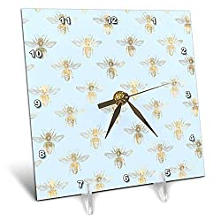 3dRose Anne Marie Baugh - Patterns - Chic Light Blue and Image of Gold Bees Pattern - 6x6 Desk Clock (dc_307932_1)