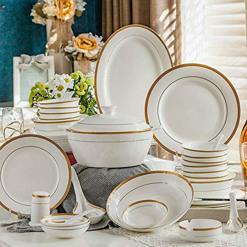 56piece set, royal floral painting, fine bone china unit of dinner, buffet dishes, porcelain dinner plate set, crockery of dish ()