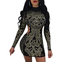 Aro Lora Women's Sexy Studded Hollow Out High Neck Bodycon Mini Club Dress