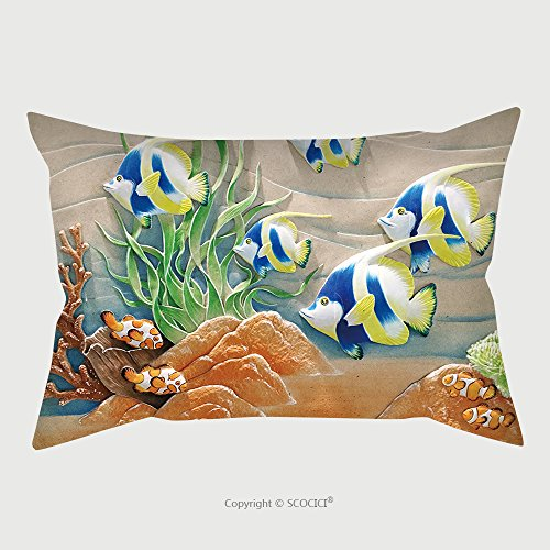 Custom Satin Pillowcase Protector Low Relief Cement Thai Style Handcraft Of Fish 612997883 Pillow Case Covers Decorative by chaoran