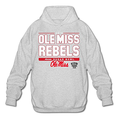 Agongda Man's OLE MISS REBELS 2016 SUGAR BOWL BOUND SNAP Sweatshirts Ash
