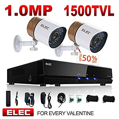 ELEC 8 Channel 960H DVR System with 4 HD Indoor/Outdoor Security Cameras & 1TB HDD (4CH 2CAM) from AOMG