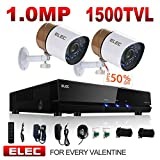 ELEC 960H Video Security System 4 Channel HDMI DVR Surveillance Kit CCTV with 2 1500TVL Outdoor Weatherproof Camera Support Mobile Remote Access, Night Vision, Motion Detection, No Hard Drive For Sale