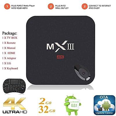 Kukele MXIII Internet Streaming Media Player [K-U Updator/S912/2GB+32GB/Octa Core/4K/Instruction/Wireless Keyboard] Android 6.0 Marshmallow TV Box Media Center