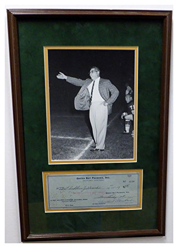 Signed Framed Check - Vince Lombardi Signed Autograph Framed 8x10 Photo With Green Bay Packers Check - JSA Authentic