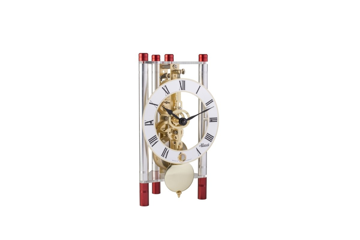 Hermle 23023T40721 Lakin Triangular Table Clock - Silver & Red with Roman Metal Dial & Brass Pendulum by Hermle