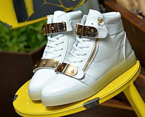 Littlepanda Mujeres Hombre High Top Usb Carga Led Zapatos Intermitentes Zapatillas De Moda Blanco Zapatillas