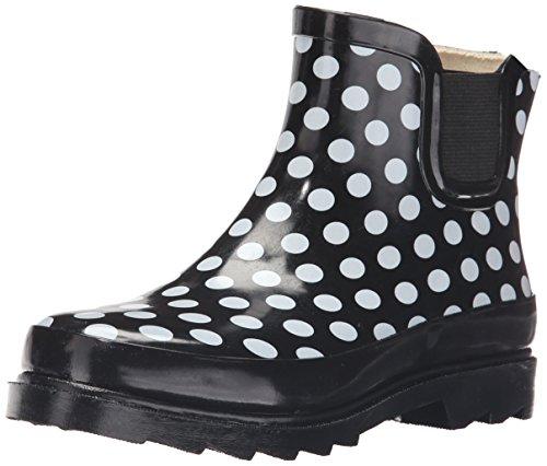 Sunville Womens Short Ankle Rubber Rain Boots Polka Dot