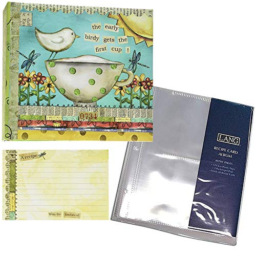 Teacup and Bird Recipe Card Album for Women - Includes 36 4x6 Recipe Cards and 12 Album Refill Pages - Holds 192 Recipe Cards ()