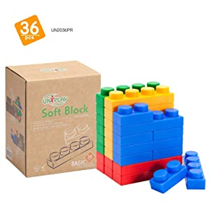 UNiPLAY Soft Plastic Stacking Building Blocks - Baby Developmental Toy - 36-Piece Multi-Color Set