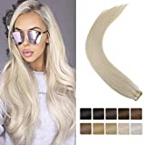 [Hot Sale]LaaVoo 16inch Double Side Tape ins Can Be Dyed Light Blonde Human Hair Extensions Skin Weft For White Thin Hair Girls 20Pcs 50g Per Package