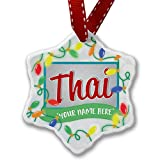 Personalized Name Christmas Ornament, Thai, Cat Breed Thailand NEONBLOND