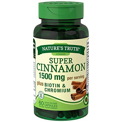 Nature's Truth Super Cinnamon plus Biotin & Chromium Quick Release Capsules - 60 ct, Pack of 6
