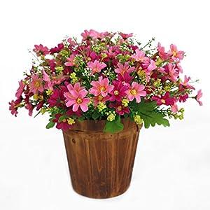 1 Bouquet 28 Heads Artificial Fake Daisy Flower Indoor Outside Hanging Planter Home Wedding Garden Cemetery Decor (Pink) 59