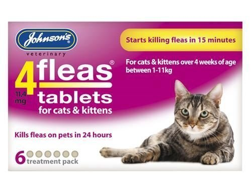 (3 Pack) Johnsons Vet – 4 Fleas Cat Flea Tablets – 6 Tab
