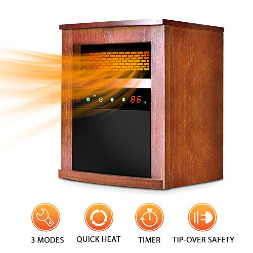 Air Choice Electric Space Heater 1500W Portable Infrared with Remote &Timer, Function 3 Modes with Overheat & Tip-Over Shut Off Wood Cabinet, L, Brown