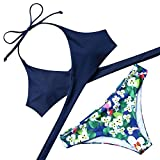 RXRXCOCO Womens Padded Push-up Bikini Set Bathing Suits Two Pieces Swimsuit Deep Blue