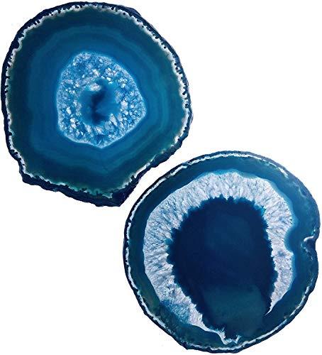 LARGE TEAL/BLUE AGATE COASTERS (4