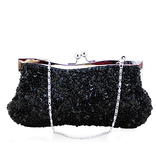 Belsen Women's Wedding Bead Sequin Evening Bags (Black) by Belsen
