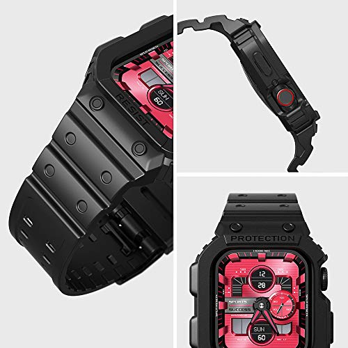 Compatible for Apple Watch Band 44mm 42mm with Bumper Case, amBand Men Bands for Apple Watch SE and iWatch Series 6 5 4 3 2 1, Protective Cases Protector Matte Black