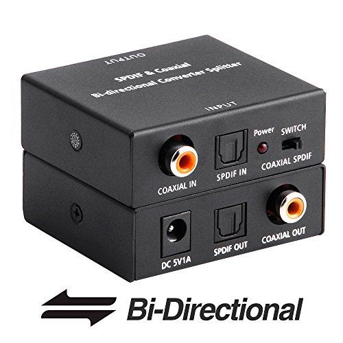 Standard Digital Coaxial - ROOFULL Optical Toslink to Coaxial and Digital Coax Coaxial to SPDIF Toslink Optical Digital Audio Converter, Bi-Directional SPDIF Coaxial and Toslink Optical Digital Audio Signal Repeater/ Switcher