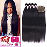8A Malaysian Straight Hair 4 Bundles With Closure Virgin Unprocessed Human Hair Wefts Hair Extensions Deal With Mixed Lengths 18 20 22 24 Inches With 16 Inches Free Part Closure For Sale
