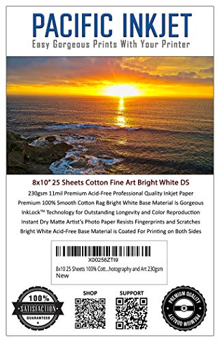 8x10 25 Sheets 100% Cotton Fine Art Matte Bright White Double Sided Inkjet Paper - Professional Paper for Use with Inkjet Printers - Printer Paper for Photography and Art 230gsm