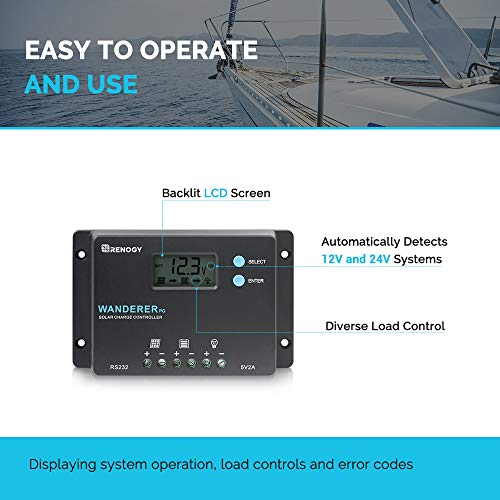 Renogy Wanderer 10 Amp 12V/24V PWM Common Postive Solar Charge Controller Regulator Compatible with Deep Cycle Sealed AGM Gel, Flooded Batteries, and and Bluetooth Module by Renogy (Image #4)