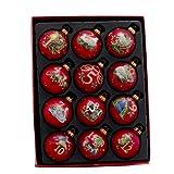Kurt Adler 12-Piece 12-Days of Christmas Decorative Glass Balls Set, 65mm