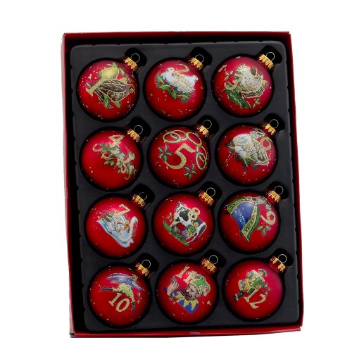 12 Day Christmas Tree Ornaments - Kurt Adler 12-Piece 12-Days of Christmas Decorative Glass Balls Set, 65mm