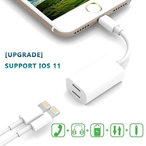 【Upgraded】 iPhone 7/8/X Dual Lightning Adapter & Splitter, 2 in 1 Lightning Headphone Jack Audio + Charge Cable Adapter, Support Sync Data, Music Control, Charge Function (Compatible iOS 11)