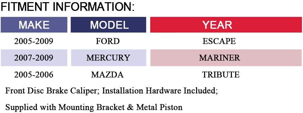 2007-2009 Mercury Mariner MAYASAF 19B3116 19B3117 Front Brake Caliper Driver /& Passenger Side Caliper Assembly Fit 2005-2009 Ford Escape 2005-2006 Mazda Tribute