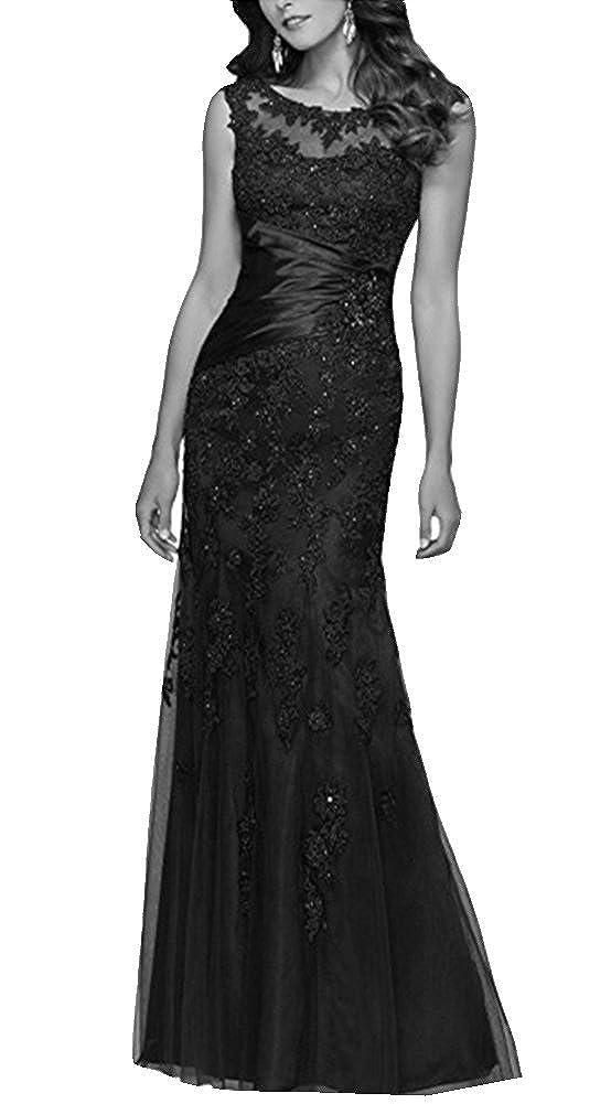 Black Snow Lotus Women's Round Neck Sleeveless Lace Mermaid Ball Gown