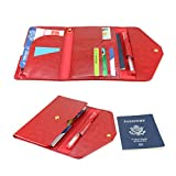 All-In-One Large Capacity RFID Blocking Travel Wallet - Multi-Purpose Passport Holder and Organizer (Deep Red)