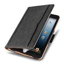 iPad Mini 4, 3, 2, and 1st Generation Case, JAMMYLIZARD The Original Black & Tan Leather Smart Cover