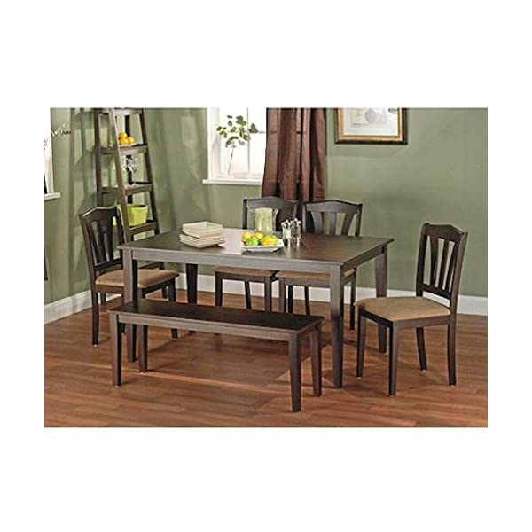 Metropolitan Brown/Espresso 6-Piece Dining Set with Table, Bench and 4 Chairs for Dining Room, Kitchen or Nook for Meals…