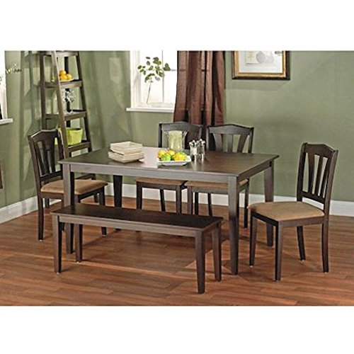 Metropolitan Brown/Espresso or Black 6-Piece Dining Set with Table, Bench and Five Chairs for Dining Room, Kitchen or Nook for Meals, Dinner, Supper, Lunch or Breakfast with Family and Friends (Brown)