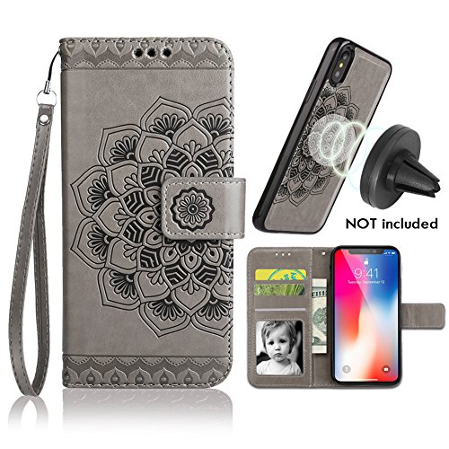 iPhone X/XS Case,iPhone X/XS Wallet Case with Detachable Slim Case,Card Solt Holder,Fit Car Mount,CASEOWL Mandala Flower Floral Embossed Leather Flip Lanyard Wallet Case for iPhone - Car Wallet Case
