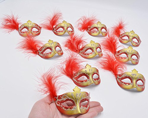 Yiseng Mini Masks 12pcs Set colorful Feather Aside Venetian Masquerade Party Decoration Novelty Gifts (Red) (Wall Venetian For Sale Masks)