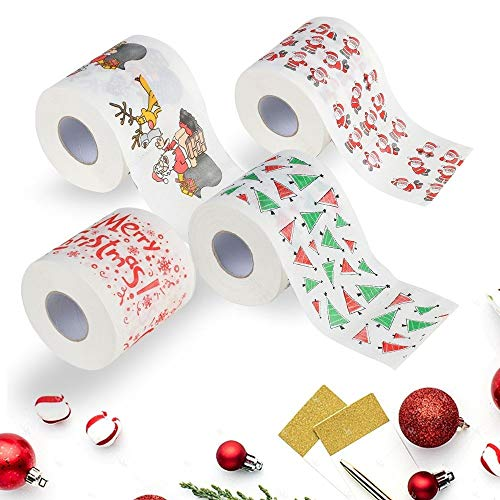 Funny Christmas Toilet Paper, Alonea Home Santa Claus Bath Toilet Roll Paper Christmas Supplies Decor Tissue Xmas Party/Gag Gift/Bathroom Decor (4 Pack❤️)