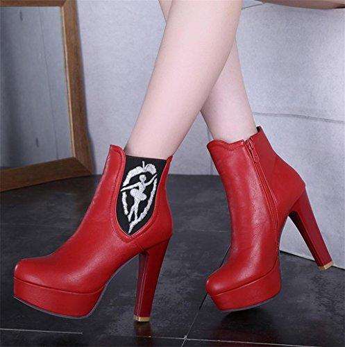 Tempérament Féminine Talons à de Talons Martin Bottes Side aigus Elégant personnalité de Chaussures de Mode Zipper HETAO Charme Cheville Red de aOqIda