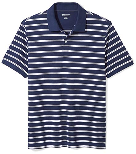 Amazon Essentials Men's Slim-fit Cotton Pique Polo Shirt, Navy/White Stripe, Large