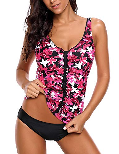 Hot Pink Floral Printed - ACKKIA Women's Hot Pink Floral Printed V Neck Ruffle Ruched Tankini Set Two Piece Swimsuit Size Small (Fits US 4-6)