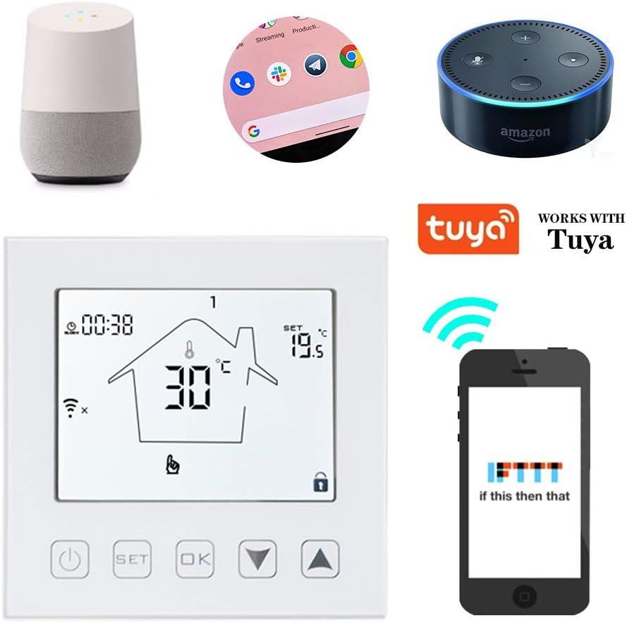 KETOTEK WiFi Smart Thermostat Heizung Temperaturregler Programmierbare Elektrofu/ßbodenheizung Raumthermostat Thermostatregler mit f/ühler Kompatibel  Echo//Google Home//IFTTT//Tuya 90V-250V 230V