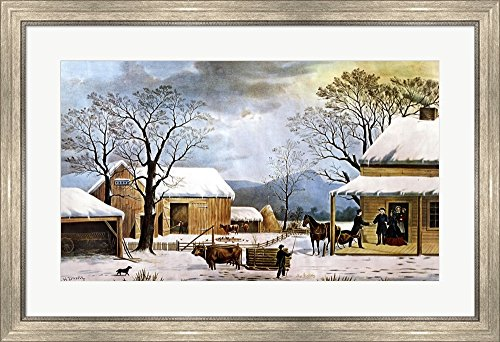 - Home, Thanksgiving by Currier and Ives Framed Art Print Wall Picture, Silver Scoop Frame, 34 x 24 inches